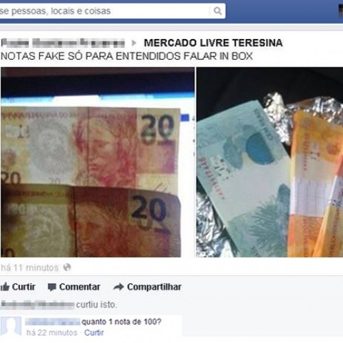 Dinheiro falso é vendido em página de negócios de Teresina no Facebook