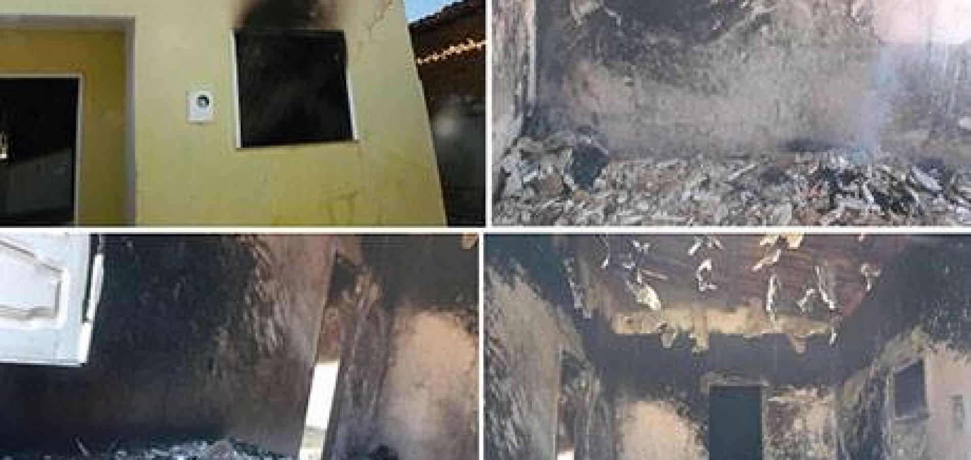 Incêndio criminoso deixa residência destruída em São João do Piauí