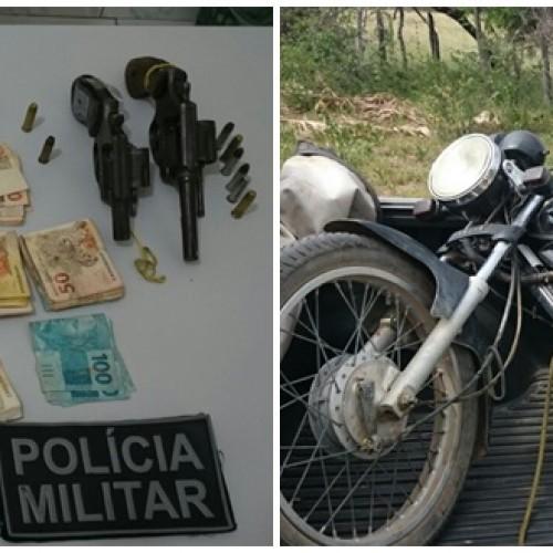 ASSALTO CARIDADE   Polícia apreende armas, munição, moto e recupera dinheiro roubado