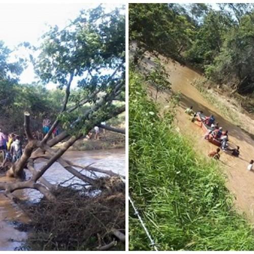 MASSAPÊ   Bombeiros e populares buscam corpo de jovem desaparecido em rio; veja imagens