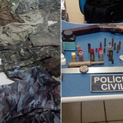 Homem é preso com fardas e armamento exclusivo do exército