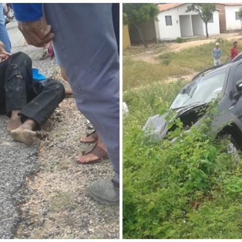 Idoso morre em acidente entre carro e moto na BR 407, no povoado Ambrósio