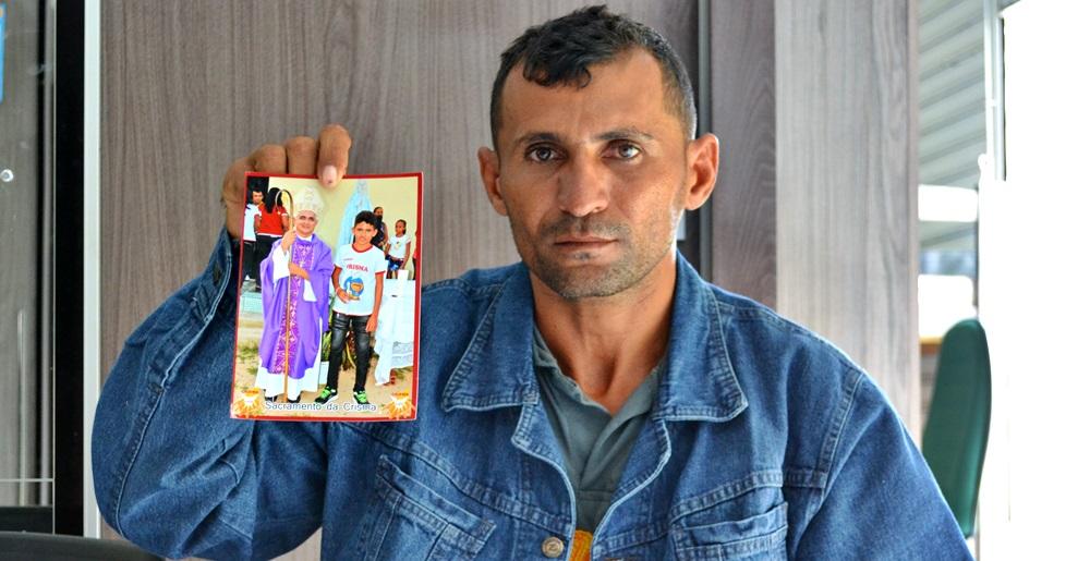 Josino Francisco da Silva Filho (Filim), pai do adolescente desaparecido