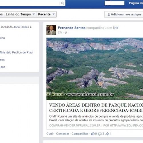 Terras do Parque das Confusões são vendidas em site na internet