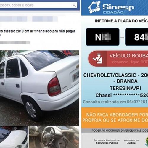 Veículos roubados e furtados são vendidos pela internet no Piauí