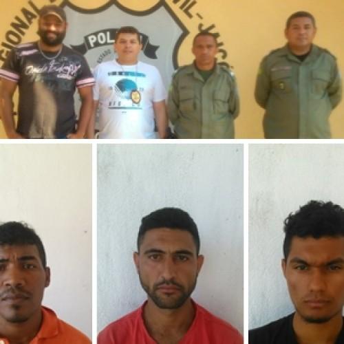 Polícia de Jaicós  prende quatro pessoas acusados de assaltar um idoso com requintes de crueldade no interior de Massapê; fotos