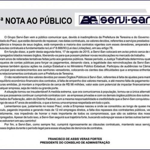Empresa Servi-San anuncia demissão de 1 mil funcionários