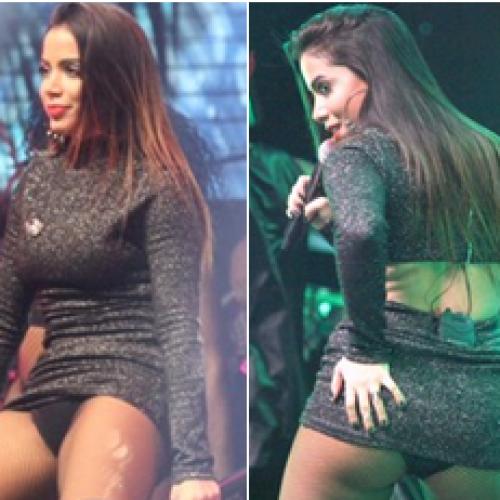 Anitta mostra quase tudo em show e 'culpa' vestido: 'Não uso mais'; veja!