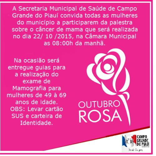"""CAMPO GRANDE   Saúde realizará palestra sobre o câncer de mama em alusão ao """"Outubro Rosa"""""""