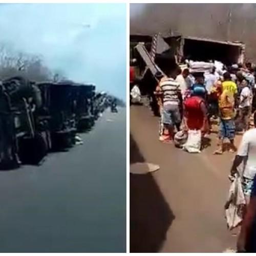 Caminhão tomba, fere 3 pessoas e criança tem braços amputados durante acidente