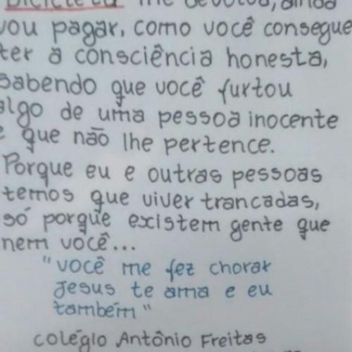 Após ter bicicleta furtada, estudante escreve carta para ladrão: 'me devolva'