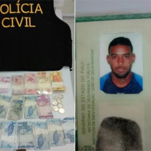 Suspeito de tráfico é preso com RG falso, drogas e dinheiro no Piauí