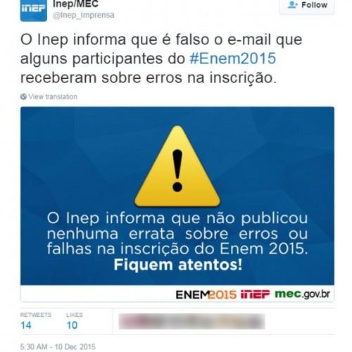 E-mails sobre erros de inscrição no Enem 2015 são falsos, alerta Inep