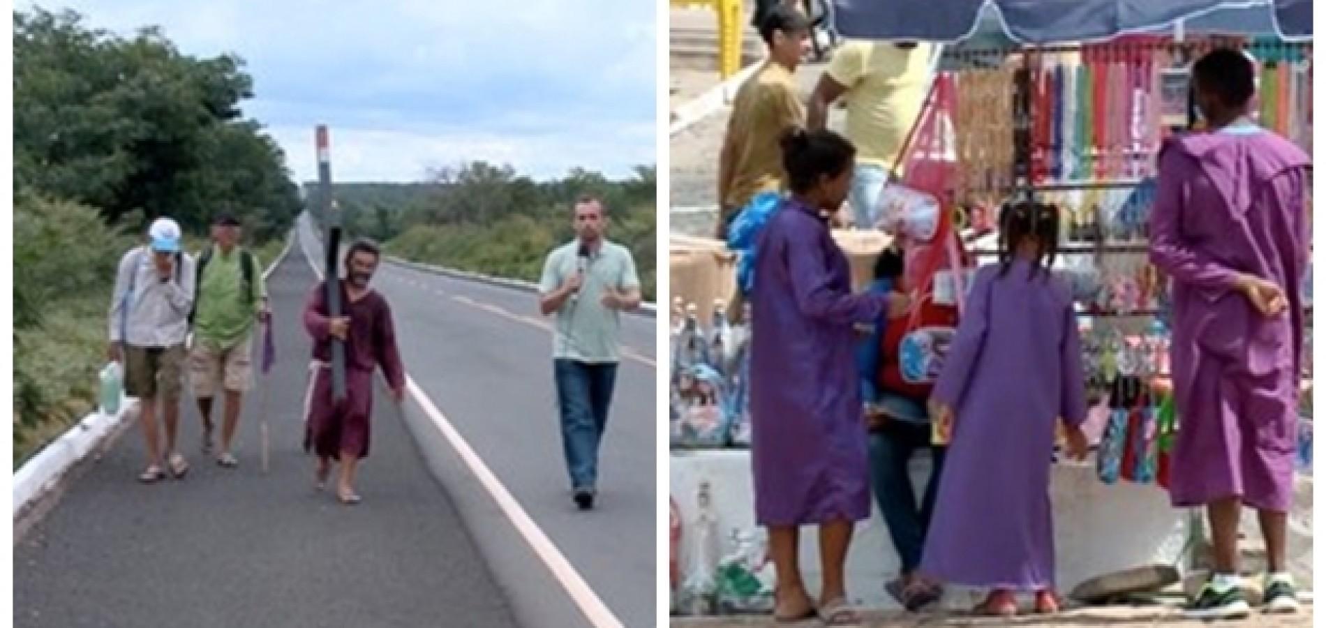Homem percorre 60 km a pé com cruz nas costas para pagar promessa em Oeiras
