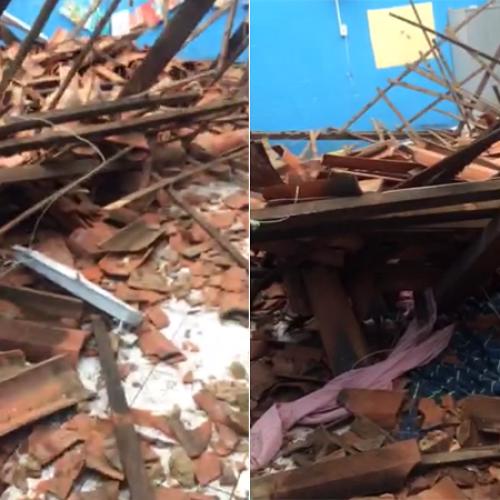 Teto de escola desaba no Piauí e deixa uma pessoa ferida