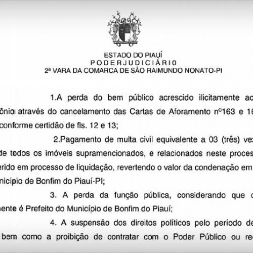Prefeito do Piauí é condenado por transferir bens do município para a família