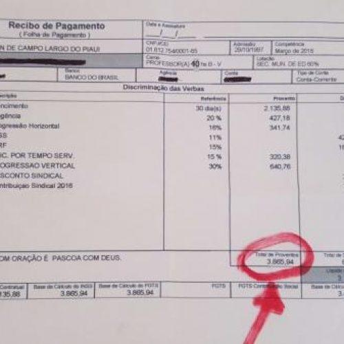 Prefeitura de Campo Largo paga no Piauí maior salário de professor. Veja!