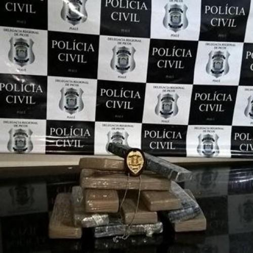 Polícia intercepta ônibus, prende quatro e apreende 10 kg de maconha em Picos