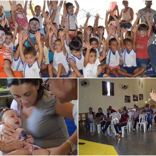 Mímicos da Alegria, palestras e ações da saúde marcam 1º e 2º dia da Semana do Bebê em Vila Nova