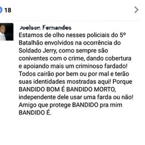 Corregedoria da PM irá apurar ameaças de internauta contra policiais no Piauí