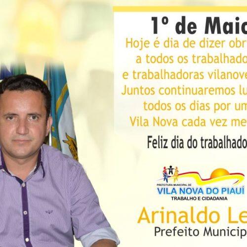 Prefeito Arinaldo Leal homenageia a todos trabalhadores e trabalhadoras vilanovenses
