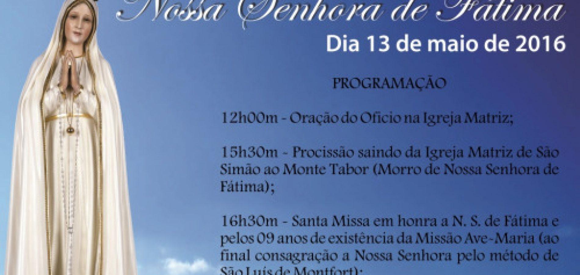 SIMÕES  Confira a programação para o dia 13 de Maio na Paróquia de São Simão