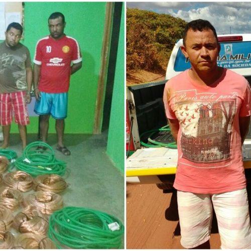 Polícia prende bando acusado de furto e comercialização e recupera 700 kg de fios de cobre de Parque Eólico em Caldeirão