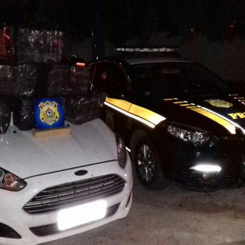 PRF apreende veículo roubado com 150 quilos de maconha no Piauí