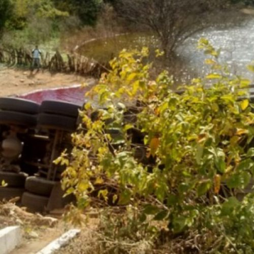 Caminhão tomba na BR 407 e motorista morre no local