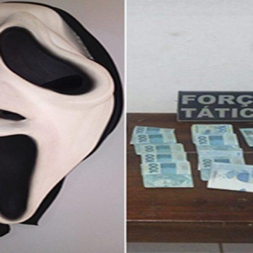 """Suspeitos de tráfico são presos com máscara do """"Pânico"""" e R$ 20 mil no Piauí"""