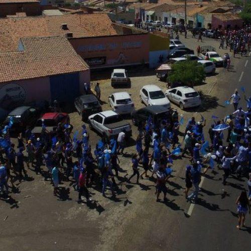 """Coligação """"O Melhor Aliado é o Povo"""" realiza passeata em Alegrete do Piauí"""