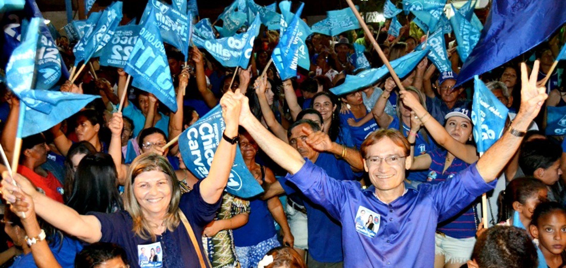 Chico Carvalho e Luiza encerram campanha com grande carreata e comício em Massapê do Piauí