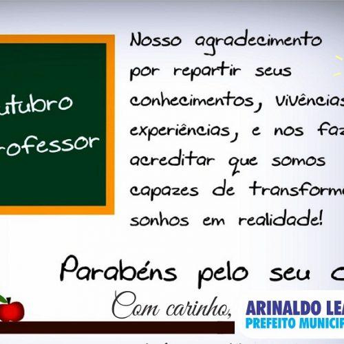 VILA NOVA    Arinaldo Leal, parabeniza os professores pelo seu dia; Comemoração acontece com passeio em Maceió-AL