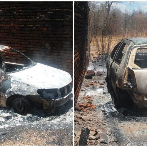 Carro é incendiado no interior de Francisco Macedo; veja fotos