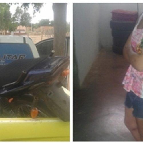 Polícia apreende drogas e recupera moto em Marcolândia