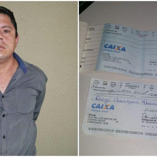 PICOS | Homem é flagrado tentando descontar cheque falso de R$ 4 mil na agência da Caixa
