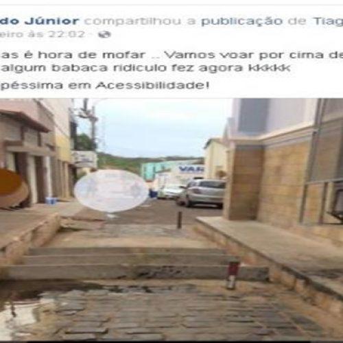 Em rede social, cadeirante protesta sobre interdição de rua no Centro de Picos