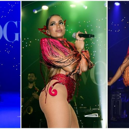 Anitta ousa em fantasia e usa fio-dental para cantar no Baile da Vogue