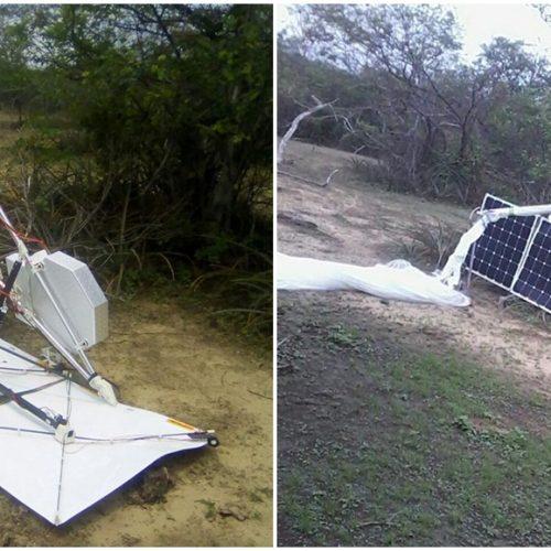 Balão com equipamentos do Google cai no interior do Piauí e assusta moradores; veja fotos