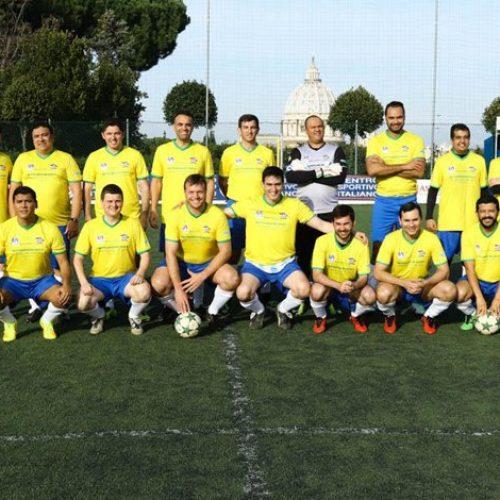 Time de padres brasileiros vence Bélgica na Copa do Mundo dos Padres em Roma; evento será pauta do Fantástico da Globo!