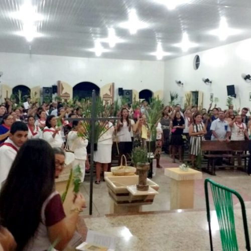 Dezenas de fiéis participam do Domingo de Ramos em Alagoinha do Piauí