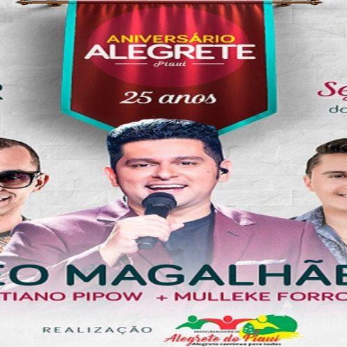Léo Magalhães, Moleque Forrozeiro e Cristiano Pipow se apresentam hoje em Alegrete do Piauí; veja horário dos shows