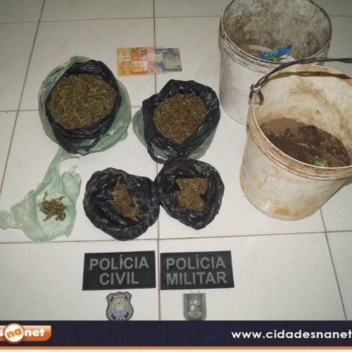 Polícias cumprem mandado de busca e apreendem droga em Simões; uma pessoa foi presa em flagrante