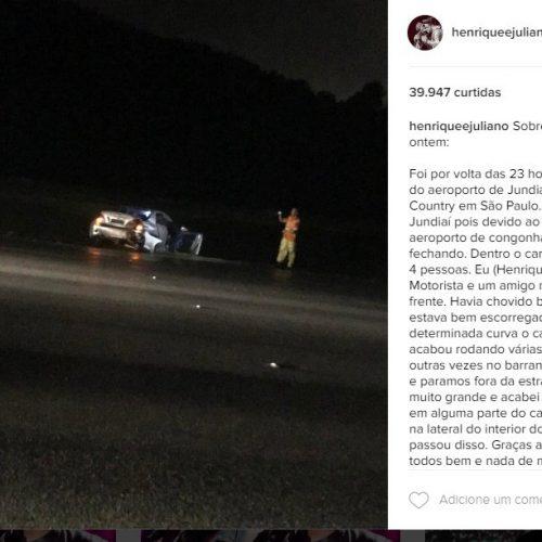 Henrique e Juliano sofrem acidente de carro em São Paulo