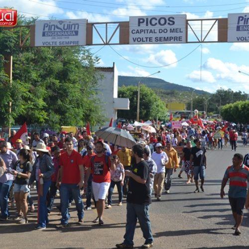 Manifestação reúne milhares de pessoas e fecha centro comercial de Picos; veja fotos