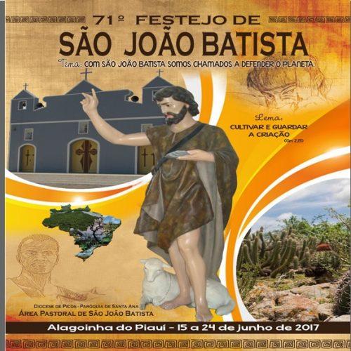 Área Pastoral de Alagoinha do Piauí divulga programação do 71º festejo de São João Batista, padroeiro do município