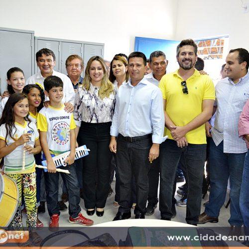 Governador Wellington Dias e prefeito Vianney inauguram escola em Caldeirão Grande do Piauí
