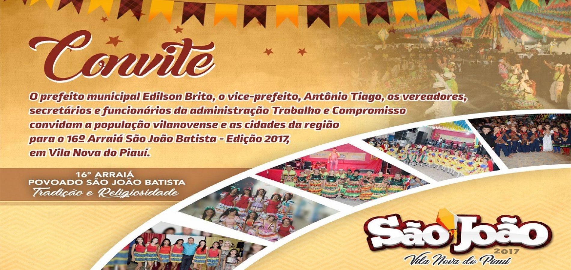 Prefeito anuncia mais uma atração para o 16º Arraiá São João Batista em Vila Nova do Piauí; veja programação completa