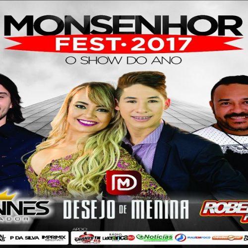 Produtora anuncia Iohannes, Desejo de Menina e Robertinho na Pisada nos festejos de 2017 em Monsenhor Hipólito