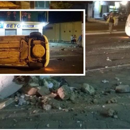 Veiculo colide em mureta e capota em avenida no Piauí